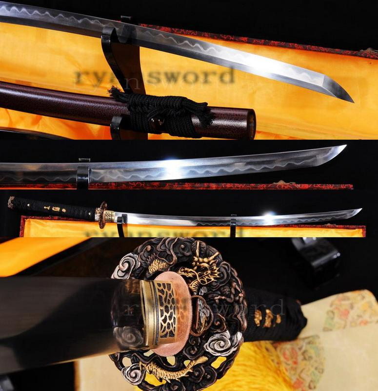 High Quality 1095carbon Steel+Folded Steel Clay Tempered Japanese Samurai Sword Katana