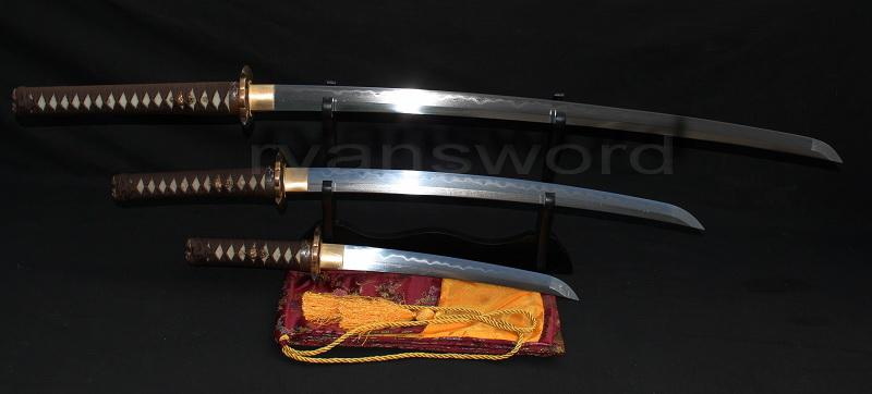 High Quality Japanese Clay Tempered Sanmai Sword(Set)