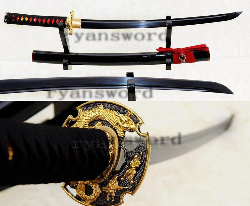 Hand Forged Damscus Black Folded Steel Japanese Samurai Wakizashi Sword
