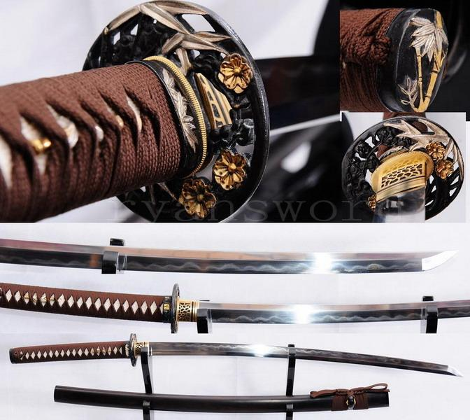 High Quality Clay Tempered Ebony Wood Saya Japanese Honsanmai Samurai Sword Katana