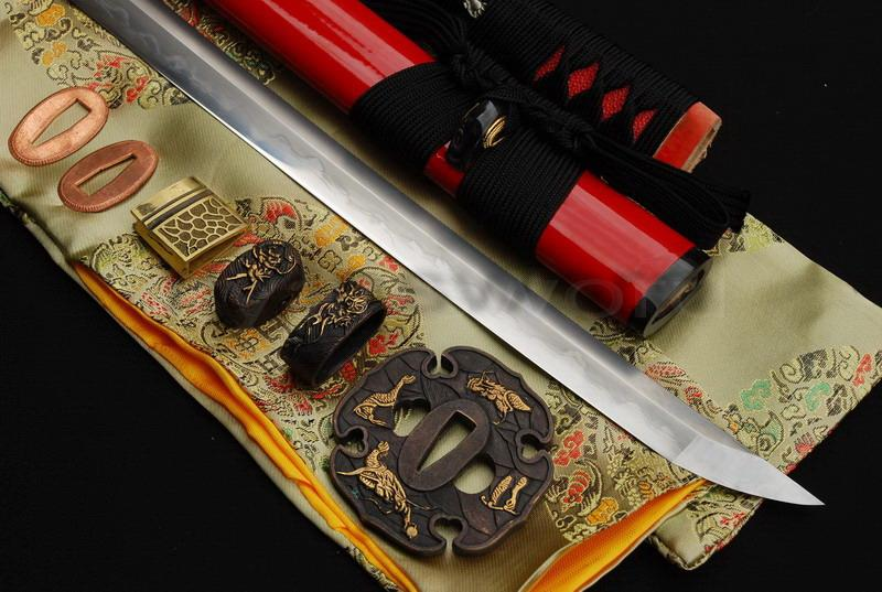 High Quality Combined Material Clay Tempered+Abrasive Horn Saya Japanese Katana Sword
