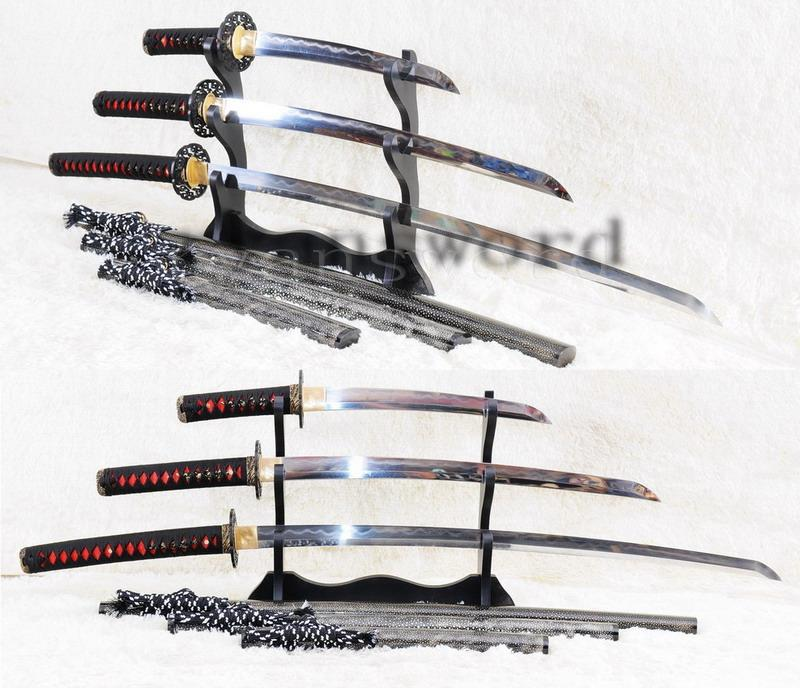 High Quality Clay Tempered Honsanmai Full Ray Skin Saya Japanese Samurai Sword Katana+Wakizashi+Tanto