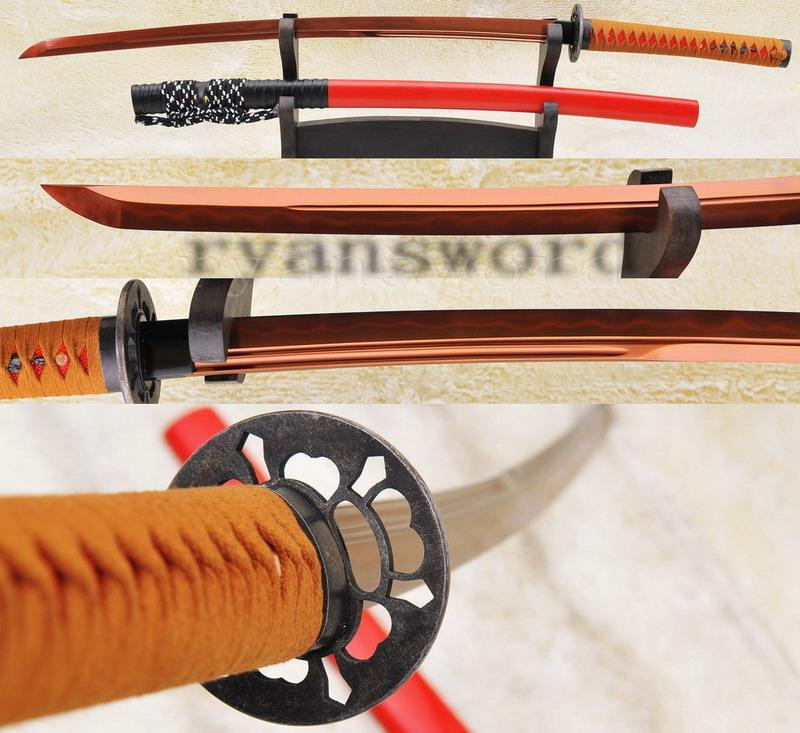 High Quality Red High Carbon Steel Clay Tempered Japanese Samurai Sword Katana