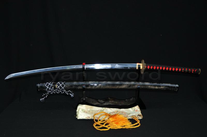 High Quality Clay Tempered 1095 High Carbon Steel Ray Skin Saya Japanese Samurai Katana Sword